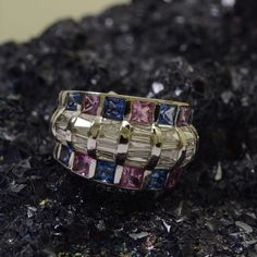 Multi Sapphire ring with Baguette Diamonds stud in 18kt white gold.