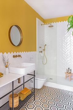 Bathroom decor One of the easiest ideas to elect for is a shower enclosure. Bathroom Interior Design, Home Interior, Colorful Interior Design, Yellow Bathrooms, Small Bathrooms, Yellow Bathroom Decor, White Bathroom, Master Bathroom, Guest Bathrooms