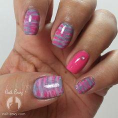 Grey and Pink Brush Stroke Nail Art Design by Nail Envy
