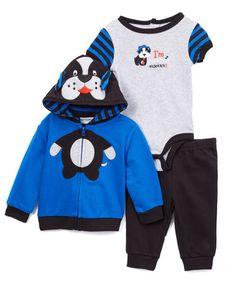 Look at this #zulilyfind! Blue & Navy Puppy Hoodie Set - Infant #zulilyfinds