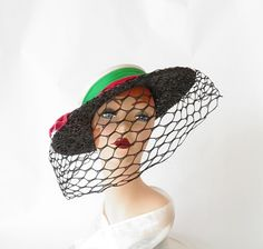 1940s boater hat, NOS, Laddie Northridge,  black straw with netting.