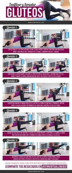 Rutina-Glúteos-altos_web Pilates Workout, Gym Workouts, At Home Workouts, Wellness Fitness, Yoga Fitness, Health Fitness, Motivation Yoga, Gym Routine, Aerobics