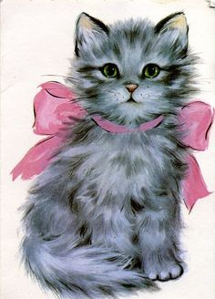 Pretty Gray Kitty with a Pink Bow