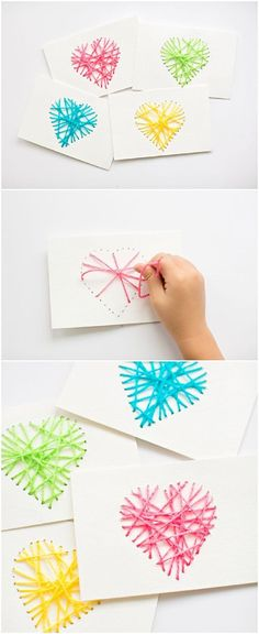 Make String Heart Yarn Cards. These make pretty handmade Valentine cards and are… Make String Heart Yarn Cards. These make pretty handmade Valentine cards and are a great threading sewing activity for kids! Kids Crafts, Diy And Crafts, Arts And Crafts, Paper Crafts, Easy Crafts, Valentine Day Crafts, Holiday Crafts, Kids Valentines, Valentines Cards For Teachers