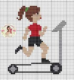 Running on treadmill x-stitch Cross Stitch For Kids, Cross Stitch Boards, Mini Cross Stitch, Cross Stitch Heart, Cross Stitch Designs, Cross Stitch Patterns, Cross Stitching, Cross Stitch Embroidery, Stitches Wow