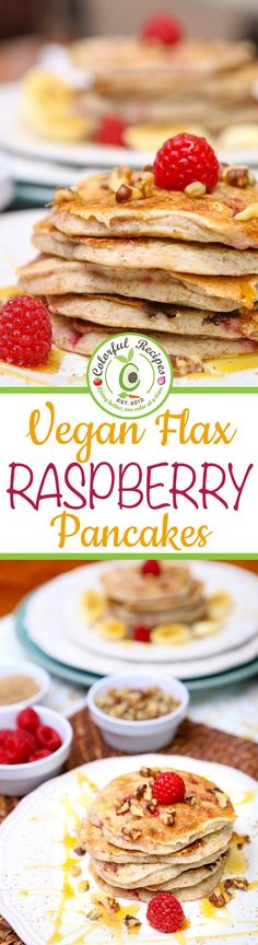 "Vegan Flax Raspberry Pancakes Nothing says ""I Love You"" like breakfast. An amazingly yummy, healthified pancake breakfast the whole family will love. These Vegan Flax Raspberry Pancakes look fancy enough to impress kids and adults alike yet you'll be able Breakfast Pancakes, Breakfast Recipes, Snack Recipes, Dessert Recipes, Snacks, Raspberry Breakfast, Raspberry Pancakes, Fun Desserts, Food Porn"