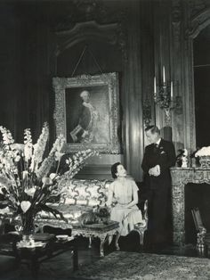 The Duke and the Duchess of Windsor in Paul Louis Weiller's House, Paris, France, 1949