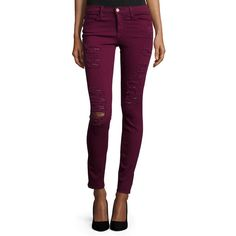FRAME Le Color Rip Skinny Distressed Jeans ($199) ❤ liked on Polyvore featuring jeans, port, mid rise skinny jeans, destroyed jeans, cuffed jeans, zipper skinny jeans and super ripped skinny jeans