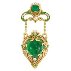 Arts and Crafts Gold, Cabochon Emerald, Diamond and Green Enamel Lapel-Watch, Marcus & Co. c. 1900  | Doyle Auction House