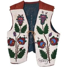 "Plateau floral beaded vest with the name ""Harry"". Glass bugle beaded floral design on reverse. Men's small - medium.Period: circa PlateauSize: L x across shouldersNative American beadwork Native American Indian new items beadwork new item plateau vests. Indian Beadwork, Native Beadwork, Native American Beadwork, Native American Indians, Contemporary Decorative Art, Blackfoot Indian, Horse Mask, Vest For Sale"