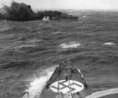 British destroyer HMS Glowworm turns to starboard to ram heavy cruiser Admiral Hipper during the German operation to invade Norway, April 1940 - a famous action that won her Commanding Officer a posthumous Victoria Cross. Glowworm was sunk. Nagasaki, Hiroshima, Naval History, Military History, Fukushima, Luftwaffe, Hms Prince Of Wales, Heavy Cruiser, Navy