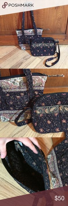 """Vintage Vera Bradley """"Black Walnut"""" bag combo. In excellent clean condition. Can be sold separately. Shoulder bag 12""""x12"""" with 11"""" strap drop. Cross body bag 10""""x7"""" with adjustable 10""""-22"""" strap drop. 2002 discontinued style. Vera Bradley Bags Shoulder Bags"""