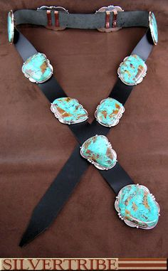 Native American Navajo Authentic Sterling Silver Kingman Turquoise Concho Belt