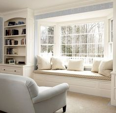 Window Seat - this looks so much like our living room front window, only ours has no seat yet. Now I want to do the built-ins AND the window seat! by Guilty_Pleasures Bay Window Benches, Window Seat Cushions, Kitchen Window Seats, Window Grill, Bench Cushions, Foam Cushions, Home Decor Bedroom, Living Room Decor, Bedroom Rustic