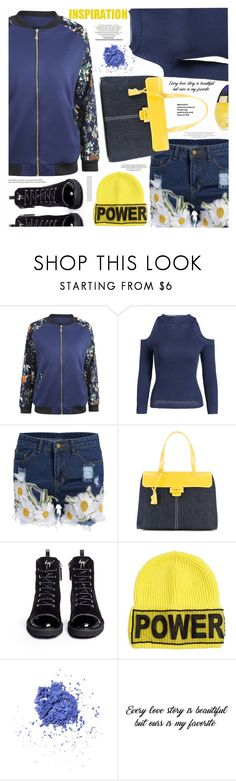 """Floral Jacket"" by katjuncica ❤ liked on Polyvore featuring Myriam Schaefer, Giuseppe Zanotti, Versace, NYX, Kate Spade, Boucheron, floralprint, Floralshorts, fallfashion and floraljacket"