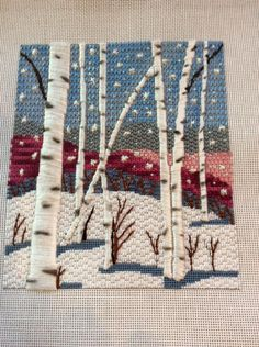 """Plays With Needles: Drawn Thread Forests with Catherine Jordan - Salvabrani hand embroidery stitches tutorial step by step images of hand embroidery patterns crewel and embroidery kits cafeinevitable:"""" Birch Trees by Yeunduhand embroidery"""" Bargello Needlepoint, Needlepoint Stitches, Needlepoint Kits, Needlepoint Canvases, Needlework, Crewel Embroidery, Embroidery Patterns, Cross Stitch Patterns, Palacio Bargello"""