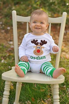 Christmas Onesie or Shirt for Boys -- Reindeer -- fun Rudolf with corduroy antlers via Etsy