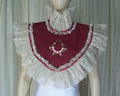 Victorian Lace collar  beige lace red ribbon Elegant Gothic Lolita  tea party steampunk collar Geechlark ap28 by Geechlark on Etsy