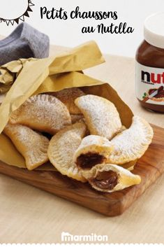 Golden slippers with Nutella®, Nutella Mousse, Nutella Pancakes, Nutella Cookies, Frozen Desserts, Healthy Desserts, Dessert Recipes, Cooking Time, Cooking Recipes, Bread Board