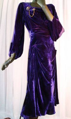 1930s Flapper Dress Purple Velvet Silver Lame Draped Bias Cut Evening Dress Sz 6 #FashionOriginatorsGuild