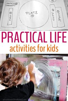 Teach kids responsibility with practical life activities for kids inspired by Montessori teachings. These ideas will keep kids busy as well as helping out.