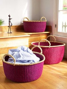 These beautifully woven, incredibly useful baskets from Ghana are now priced at $175 (down from $310) for a set of three. Only a few are left in each color. #sale