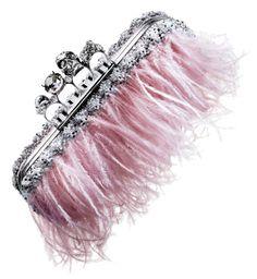 Gosh freakin me!! Luv it!! Wedding-worthy pink feathered Alexander McQueen clutch