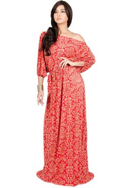 db38be87c677 Koh Koh Women Long Sexy One Off Shoulder Flowy Summer Bohemian Boho Print  Floral Casual Short Sleeve Gown Gowns Maxi Dress Dresses Red and Beige L  1214 ...