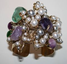 Philippe Ferrandis Glass Pearl and Semi-Precious Cuff Bracelet | From a unique collection of vintage cuff bracelets at https://www.1stdibs.com/jewelry/bracelets/cuff-bracelets/