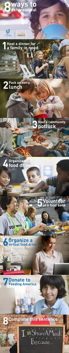 """You can make a difference to help end child hunger. Read """"8 Ways to Share a Meal""""  to learn more about making an impact in your community. #ShareAMeal."""