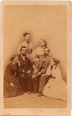 The familiarity of the women resting their hands and elbows on the men leads me to believe that this is a family group rather than just friends. Carte de visite taken by Theo. Just Friends, Friends Family, Vintage Postcards, Vintage Photos, Old West Outlaws, Allentown Pennsylvania, City Gallery, Albums, Frozen