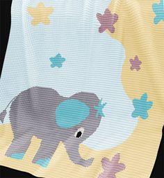 CROCHET Pattern - Baby Blanket Pattern - Stargazer - Crochet Graph - Elephant…