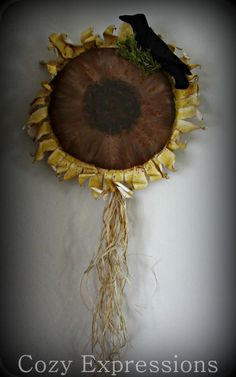 Sunflower Wall or Door Hanging by CozyExpressions on Etsy