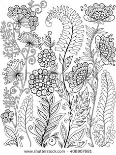 Coloring book for adults for meditation and relax. Decorative wild flowers and herbs. Vector elements