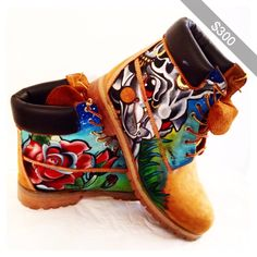 Custom Floral Wheat Hand Painted Sierato Tattoos For Shoes Timberland