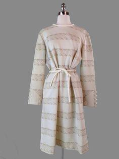 Vtg JOAN CURTIS 60s 70s Cream Taupe MOD Geo Trendy Midi Twiggy Belted Dress L/XL #JoanCurtis