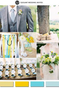 custard yellow and tiffany blue spring wedding color ideas 2015 trends #elegantweddinginvites