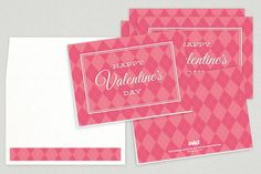 pink argyle patterned Valentine's Day greeting card design from Inkd