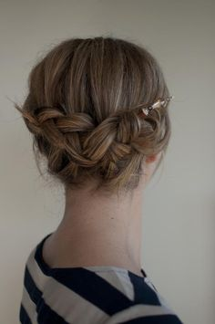 Backward braid with hair sticks