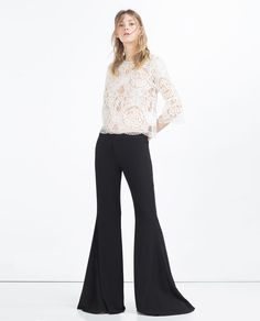 I like this LACE TOP from Zara (but NOT the bell bottom pants:(.