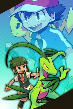 Ash and Pikachu along with Scottie and Grovyle