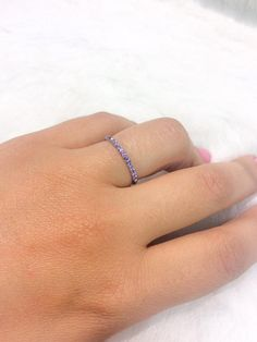 Amethyst Eternity Band 1.7mm Pave Full Eternity Band 14K