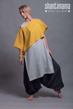 Linen Lagenlook Crop Top DION oversized drop shoulder shirt women linen clothing boho minimalist plus size loose fit, summer linen clothes Tienda Fashion, Womens Linen Clothing, Gypsy Clothing, Steampunk Clothing, Mein Style, Moda Boho, Crop Top Outfits, Gray Outfits, Linen Tunic