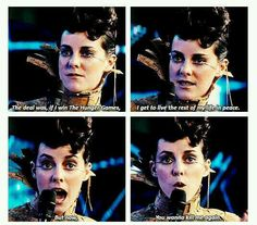 Johanna Mason's logic on the Quarter Quell...um...I have to say I agree with her. The deal WAS that, if she survived the Games, she would be left alone to live in peace and wealth and riches. NOW they want her back to kill her again. I have to agree with her on that. It wasn't right.