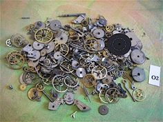 Vintage Antique Watch parts gears- Steampunk - Scrapbooking o2