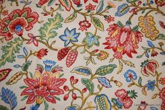 Jacobean Print Flower English Country Jacoby Floral Heavy Weight Cotton Fabric Drapery Fabric HD355