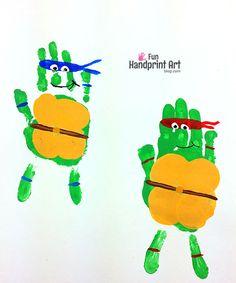 Handprint teenage mutant ninja turtle craft - keepsake, bedroom decoration, and/or tmnt birthday party activity p Turtle Birthday Parties, Ninja Turtle Birthday, Ninja Turtle Party, 4th Birthday, Ninja Turtle Decorations, Ninja Turtle Crafts, Ninja Turtle Bedroom, Craft Activities For Kids, Activity Games