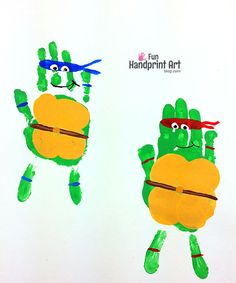 Handprint Teenage Mutant Ninja Turtle Craft - keepsake, bedroom decoration, and/or TMNT birthday party activity p