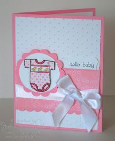 I needed to re-stock my baby cards in my stash.quite a few babies were recently born in my husbands department at work. Baby Girl Cards, New Baby Cards, Baby Boy, Baby Shower Gift Bags, Baby Shower Cards, Scrapbook Paper Crafts, Scrapbooking Ideas, Cute Cards, Quick Cards