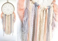 Peach Beige Gray and Gold feathered Doily Dreamcatcher